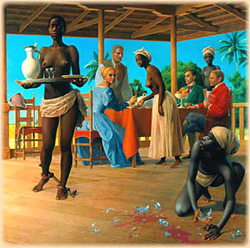Photo: A depiction of slaves serving their masters in Trinidad. (Courtesy Netssa.com)