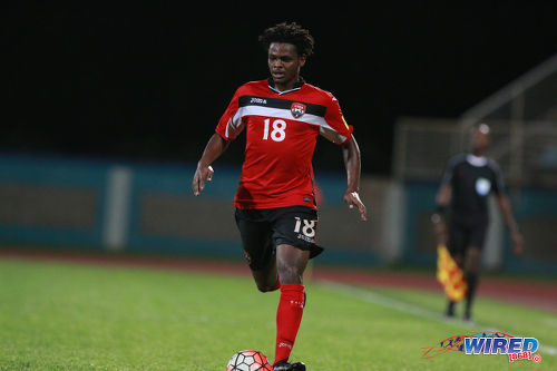 Photo: Trinidad and Tobago left back Tristan Hodge advances during 2017 Caribbean Cup qualifying action against the Dominican Republic at the Ato Boldon Stadium in Couva on 5 October 2016. (Courtesy Nicholas Bhajan/Wired868)