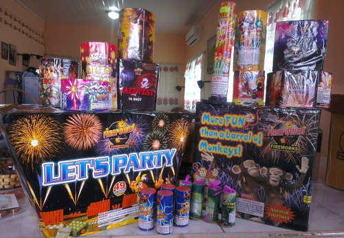 Photo: A display of fireworks for sale.