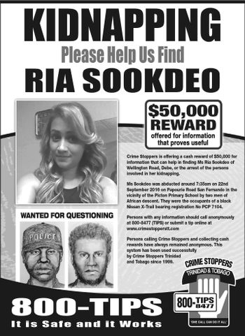 Photo: A Trinidad and Tobago Crime Stoppers notice requesting information on the whereabouts of Ria Sookdeo.