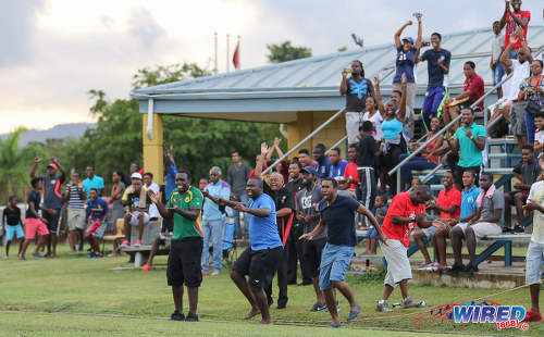 Photo: Trinity College East supporters celebrate after Nickel Orr's decisive goal against Malick Secondary during Championship Big 5 Play Off action in Trincity on 6 November 2016. (Courtesy Sean Morrison/Wired868)
