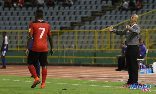 Photo: Trinidad and Tobago Senior National Team coach Stephen Hart (right) gestures during Russia 2018 World Cup qualifying action against Costa Rica at the Hasely Crawford Stadium on 11 November 2016. Looking on is Trinidad and Tobago winger Cordell Cato. (Courtesy Sean Morrison/Wired868)