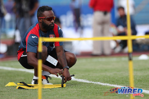 Photo: Trinidad and Tobago National Senior Team fitness trainer Tobias Ottley prepares a session before kickoff against Honduras in San Pedro Sula on 15 November 2016. (Courtesy Allan V Crane/CA-Images/Wired868)