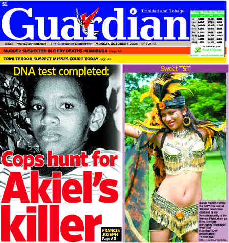 Photo: A Trinidad Guardian headline on murdered child, Akeil Chambers. (Copyright Trinidad Guardian)