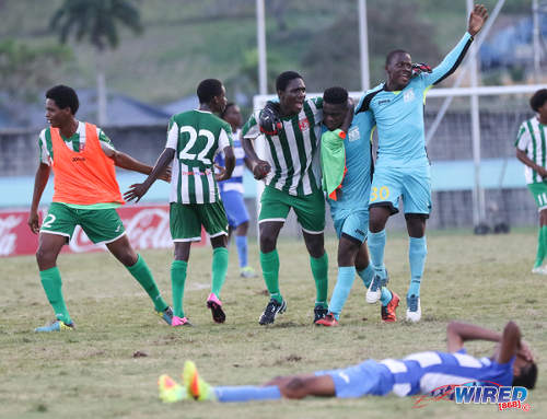 Photo: San Juan Secondary striker Renaldo Boyce (centre) and his teammates celebrate after their 1-0 win over Presentation College (San Fernando) in the National Intercol final at the Mannie Ramjohn Stadium in Marabella on 6 December 2016. (Courtesy Sean Morrison/Wired868)