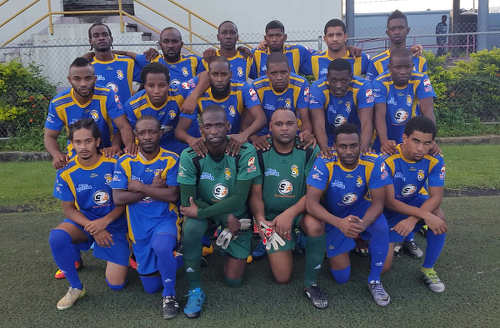Photo: The Sports and Games FC Santa Rosa team poses before kick off against Real Maracas in NSL Premiership Division action on 11 December 2016. (Courtesy FC Santa Rosa)