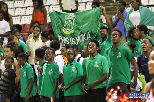 Photo: Trinity College Moka fans support their team during National Intercol semifinals action against San Juan North Secondary at the Hasely Crawford Stadium, Port of Spain on 30 November 2016. (Courtesy Sean Morrison/Wired868)
