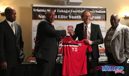 Photo: Trinidad and Tobago Football Association (TTFA) president David John-Williams (second from left) welcomes new National Senior Team coach Tim Saintfiet (second from right) during a press conference at the Marriott Hotel on 7 December 2016. Looking on is new general secretary Justin Latapy-George (far left) and technical director Muhammad Isa. (Courtesy Wired868)