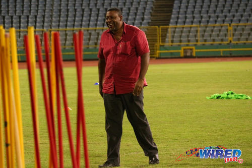 Photo: Trinidad and Tobago Football Association (TTFA) president David John-Williams enjoys himself at new head coach Tom Saintfiet's maiden training session at the Hasely Crawford Stadium in Port of Spain on 15 December 2016. (Courtesy Nicholas Williams/Wired868)