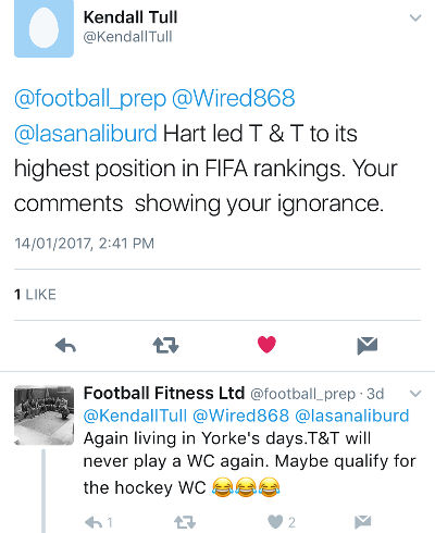 Photo: Football Fitness Ltd takes on Wired868 reader Kendall Tull. Ex-Trinidad and Tobago football team fitness trainer Riedoh Berdien claimed he did not send that tweet.