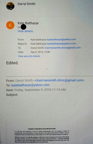 Photo: Sport Ministry employee Kate Balthazar appears to edit an apology from Sport Minister Darryl Smith to Sport Ministry Darryl Smith. Is Balthazar working in communications or the psychiatric ward?