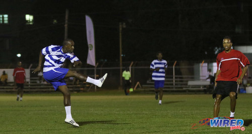 Photo: Boom! Wired868 winger Abdallah Phillip (left) cracks home with Invitational XI midfielder Densill Theobald looks on in the Wired868 Football Festival V at UWI admin ground on 7 January 2017. (Courtesy Sean Morrison/Wired868)