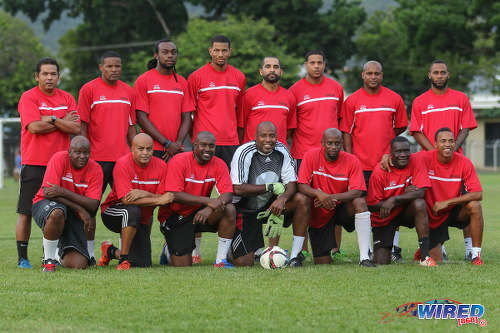 Photo: The Darin Lewis Invitational XI pose before kick off in the Wired868 Football Festival V at UWI admin ground on 7 January 2017. Missing from the photo is Arnold Dwarika. (Courtesy Sean Morrison/Wired868)