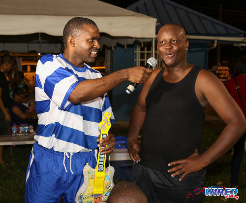 "Photo: It was great! Spirit of Wired868 winner Kerwin ""Hardest"" Jemmott (right) shares his views on the event with host Tyrone Marcus after the Wired868 Football Festival V at UWI admin ground on 7 January 2017. (Courtesy Sean Morrison/Wired868)"