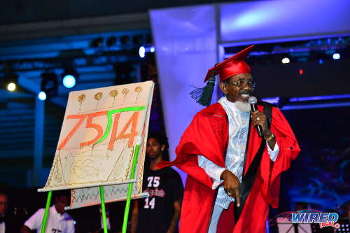 "Photo: Dr Hollis ""Chalkdust"" Liverpool performs ""Learn from Arithmetic"" at the Calypso Monarch final on 26 February 2017 at the Queen's Park Savannah. Chalkdust copped the crown for his record ninth title. (Courtesy Wired868)"