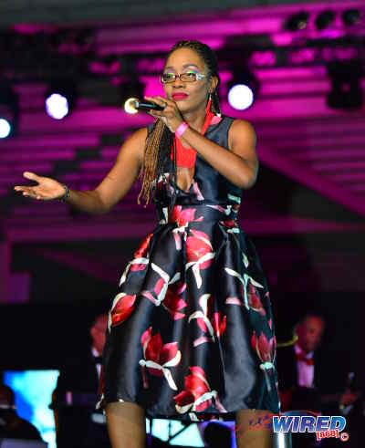 "Photo: Heather MacIntosh performs ""Games"" at the Calypso Monarch final on 26 February 2017 at the Queen's Park Savannah. MacIntosh placed third from 17 contestants. (Courtesy Wired868)"