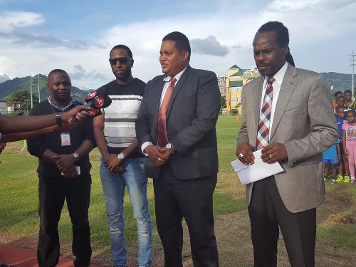 "Photo: (From left) Sports Company of Trinidad and Tobago facility manager Anthony Blake, three-time Olympic medalist Richard ""Torpedo"" Thompson, Sport Minister Darryl Smith and Public Utilities Minister Fitzgerald Hinds."