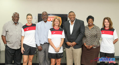 Photo: Trinidad and Tobago Football Association (TTFA) president David John-Williams (third from right) poses with Women's National Senior Team coaches (from left) Nicola Williams, Carolina Morace and Elisabetta Bavagnoli at a press conference in the Ato Boldon Stadium, Couva on 1 February 2017. Also in the photograph are TTFA vice-presidents Joanne Salazar (second from right) and Ewing Davis (third from left) and TTFA technical director Muhammad Isa (far left). (Courtesy Sean Morrison/Wired868)