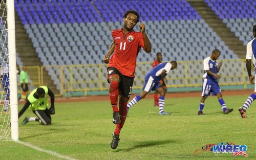 Photo: Trinidad and Tobago National Under-20 Team attacker Josh Toussaint (centre) celebrates after scoring against St Ann's Rangers during a practice game at the Hasely Crawford Stadium in Port of Spain. (Courtesy Sean Morrison/Wired868)