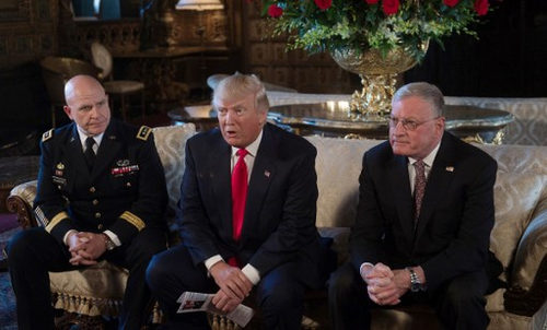 Photo: US President Donald Trump (centre) announces US Army Lieutenant General HR McMaster (left) as his national security adviser and Keith Kellogg (right) as McMaster's chief of staff at his Mar-a-Lago resort in Palm Beach, Florida, on 20 February 2017.  (Copyright AFP 2017/Nicholas Kamm)