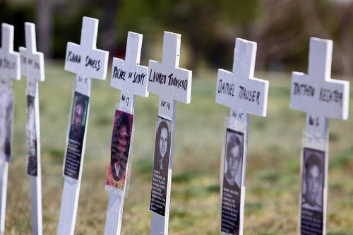 Photo: A tribute to the victims of the Columbine school massacre. (Copyright NBC)