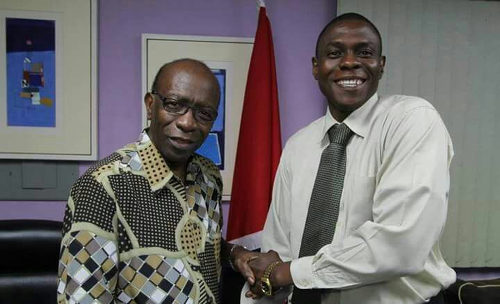 Photo: TTFA freelancer and secondary school teacher Gordon Pierre (right) poses with ex-FIFA vice president Jack Warner.