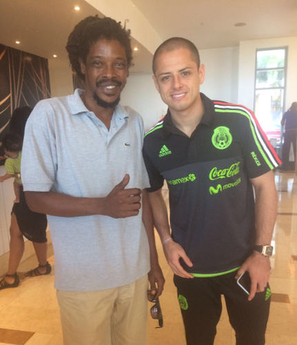 "Photo: Mexico international star Javier ""Chicharito"" Hernandez poses with ex-Trinidad and Tobago National Under-20 Team star and Pro League legend Marvin Oliver at the Hyatt Hotel in Port of Spain on 27 March 2017. Oliver was at the Hyatt to catch up with Mexico coach Juan Carlos Osario, who coached the Trinidadian at the Staten Island Vipers in the United States from 1998 to 1999. (Courtesy Marvin Oliver)"