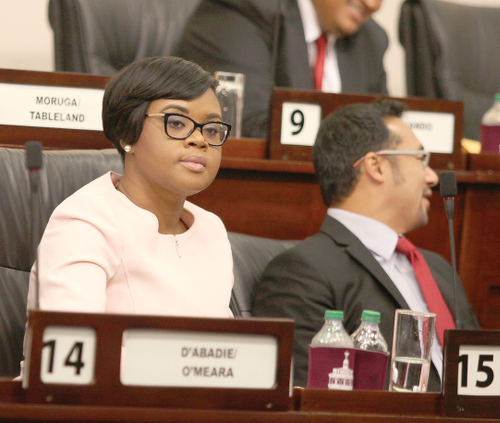 Photo: Tourism Minister Shamfa Cudjoe (left) in Parliament. (Copyright TobagoToday.co.tt)