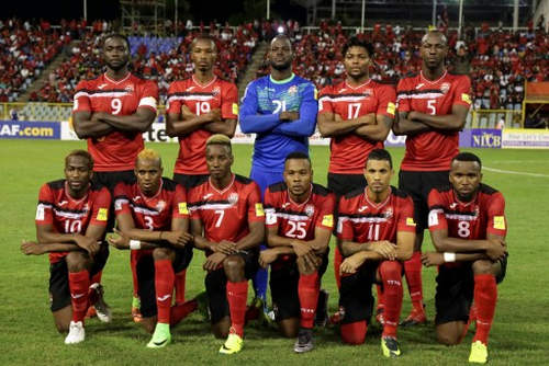 Photo: The Trinidad and Tobago National Senior Team pose before kickoff against Panama for 2018 World Cup qualifying action at the Hasely Crawford Stadium on 24 March 2017. (Courtesy Chevaughn Christopher/Wired868)