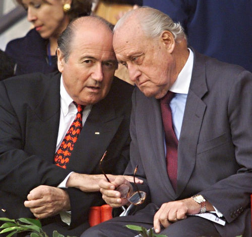Photo: Disgraced former FIFA presidents Sepp Blatter (left) and Joao Havelange. (Copyright AFP 2017)