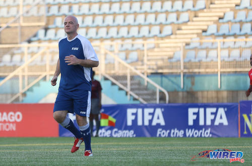 Photo: FIFA president Gianni Infantino struts at the Ato Boldon Stadium in Couva during an exhibition match on 10 April 2017. (Courtesy Sean Morrison/Wired868)