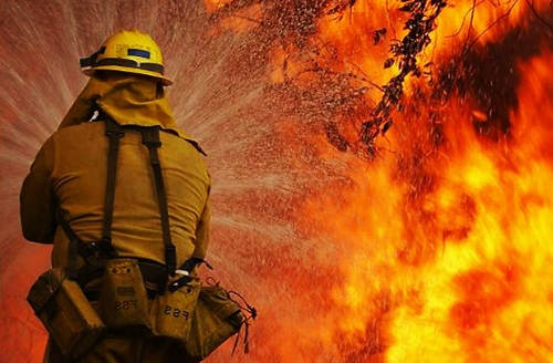 Photo: Firefighter coming through...