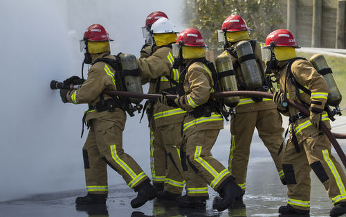 Photo: Firefighters work as a team. (Copyright Radionz.co.nz)