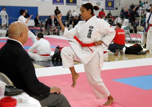 Photo: Giselle La Rode-West competes at the Adults 35 and Over Kata Black Belt competition at the annual New York Open Traditional Karate Do Championships in Westchester Community College, White Plains on 12 October 2014. (Copyright NY Daily News/Hayden Roger Celestin)