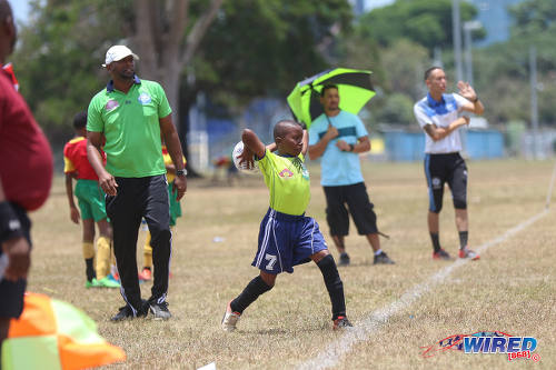 Photo: A Santa Cruz FA under-11 player takes a throw the opening day of RBNYL North Zone action at the Queen's Park Savannah on 22 April 2017. (Courtesy Sean Morrison/Wired868)