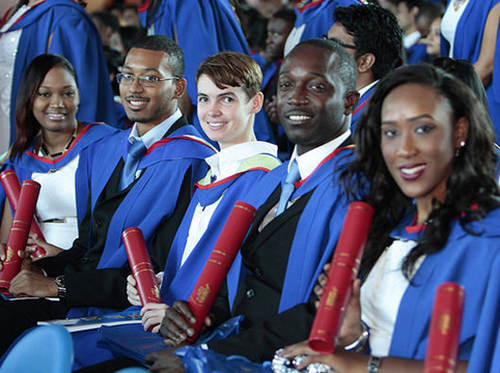 Photo: Students at the graduation ceremony at UWI, St Augustine Campus. (Copyright UWI)
