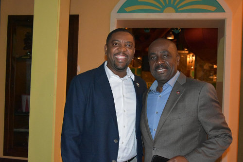 Photo: WICB president Dave Cameron (left) and Antigua and Barbuda Sport Minister and controversial ex-ABFA general secretary Chet Greene.