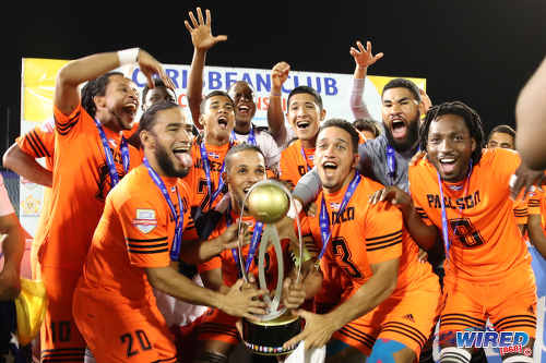 Photo: Cibao FC players celebrate with the Caribbean Club Championship trophy after defeating San Juan Jabloteh 1-0 in the final on 21 May 2017 at the Hasely Crawford Stadium. (Courtesy Allan V Crane/Wired868)
