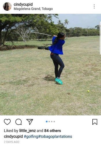 "Photo: Fore! Cindy Cupid, the Sport Minister's personal assistant, shares a photo on Instagram of a ""staff meeting"" at the Magdalena Grand Beach and Golf Resort in Tobago."