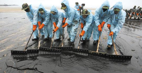 Photo: A clean up crew at work after the BP Deep Water Horizon oil spill.