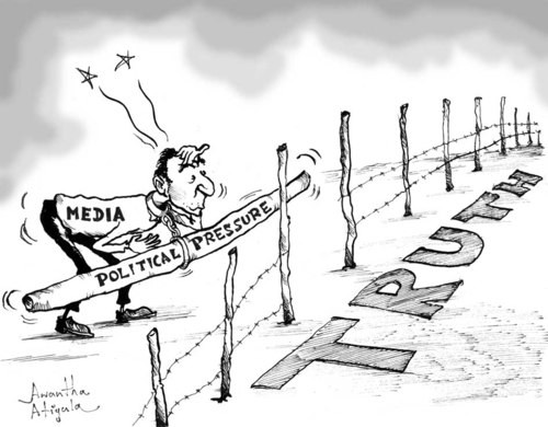 Photo: A cartoon on the media's search for the truth. (Copyright Toonpool)